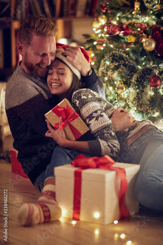 love, happiness for Christmas, concept- romantic man and woman in love at Christmas .