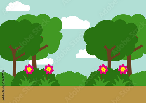 Foto op Aluminium Groene Home sweet home Green Park Environmental Landscape vector illustration design