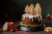 Gingerbread Cake Decorated With Biscuits