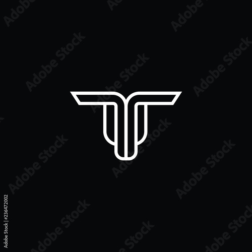 Outstanding professional elegant trendy awesome artistic black and white color UT TU TT initial based Alphabet icon logo Canvas Print