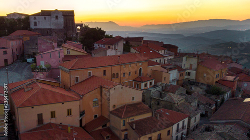Aerial view at sunset of the small town of Montecalvo Irpino, in the province of Avellino, in Italy Canvas Print
