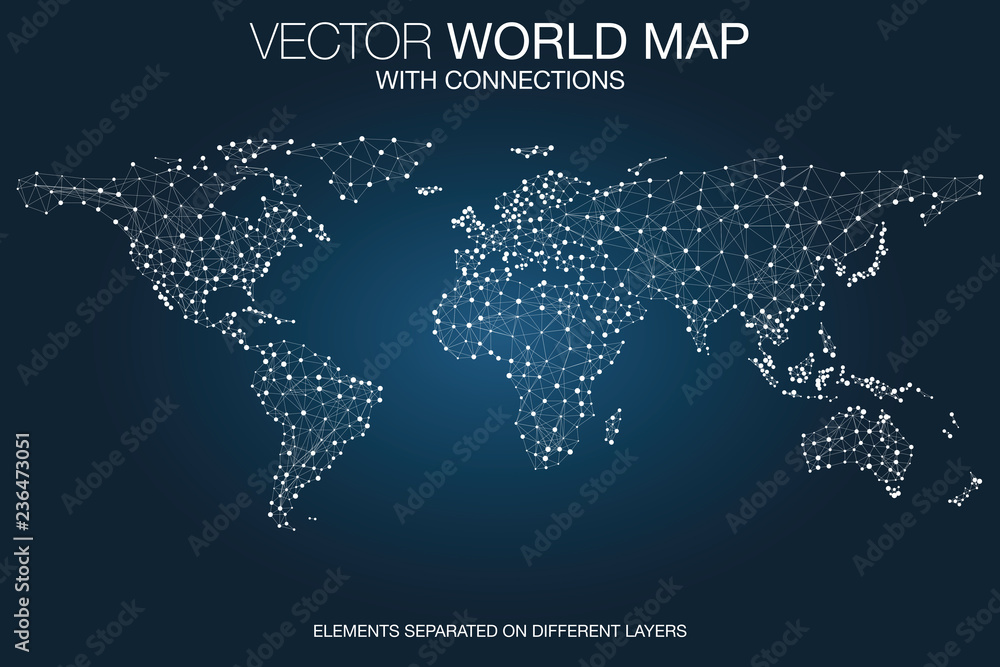 Fototapeta World map network with connections, global communication and business concept, telecommunication technology, internet of things (IoT), web and mobile phone data transfer connected, vector