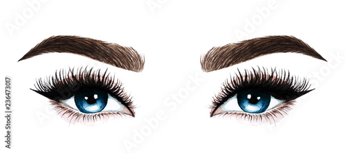 8924e0a892d Woman eyes with long eyelashes. Hand drawn watercolor illustration.  Eyelashes and eyebrows. Design