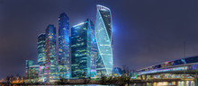 """Moscow - October 21, 2018: The Towers Of The International Business Center """"Moscow-City"""" And Bridge Bagration. Night View From Taras Shevchenko Embankment."""