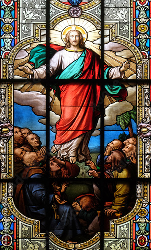 Photo Ascension of Christ, stained glass window in the Saint Nicholas Evangelical chur