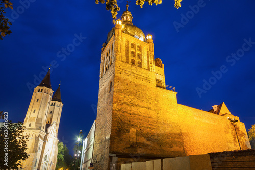 Valokuva  Plock Castle and Cathedral at night