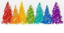 Christmas Trees In Rainbow Colors