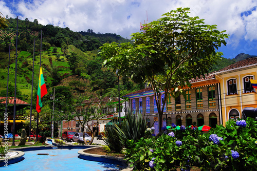 Street scene in Pijao, wellknown village in Colombia for coffee culture, South America - 236483280