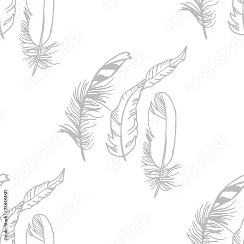 Fotografie, Obraz Mockingjay feather seamless pattern hand drawn sketch