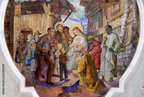 Photo Nativity Scene, Adoration of the Magi, ceiling fresco i the Saint George church