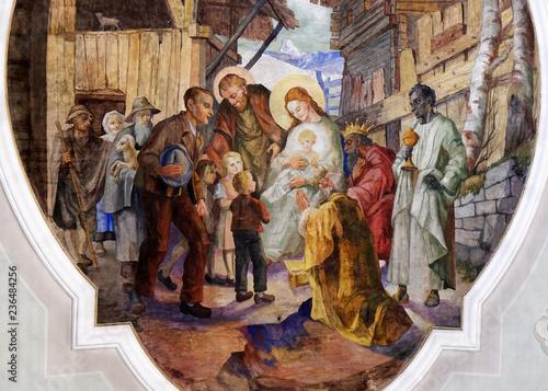 Nativity Scene, Adoration of the Magi, ceiling fresco i the Saint George church Canvas Print