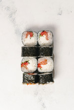 Overhead View Of Sushi Rolls S...