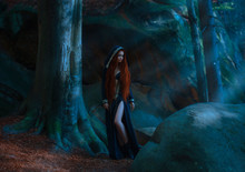 Red-haired Attractive Slender Girl In A Long Dark Blue Dress, Cloak With A Hood And Open Chest And Leather Boots Standing In A Dark Forest In The Rays Of Moonlight. The Young Princess Has Gone Astray