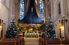 Church Altar In The Christmas ...