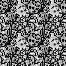 Black Vintage Lace Seamless Pattern With Flowers
