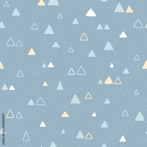 Geometric seamless pattern with hand drawn triangle. Simple vector illustration. Handmade background in scandinavian style.
