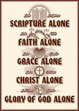 "Christian Poster. Five Points Of The Foundation Of Protestant Theology ""Five Solas"". Sola Scriptura, Sola Gratia, Solus Christus, Sola Fide, Soli Deo Gloria."