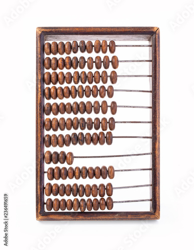 Old wooden abacus on white background. - 236491659