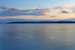 Lake Uvildy in november at sunset in late autumn, Southern Urals, Rusia