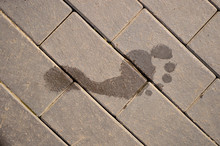 Wet Foot Print On Paving Slabs