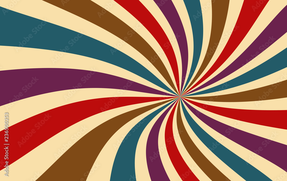 Fototapeta retro starburst or sunburst background vector pattern with a dark vintage color palette of red purple blue brown and beige in a spiral or swirled radial striped design