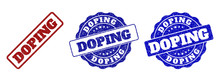 DOPING Scratched Stamp Seals In Red And Blue Colors. Vector DOPING Labels With Dirty Effect. Graphic Elements Are Rounded Rectangles, Rosettes, Circles And Text Labels.