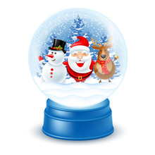 Snowglobe With Santa Claus, Snowman And Reindeer
