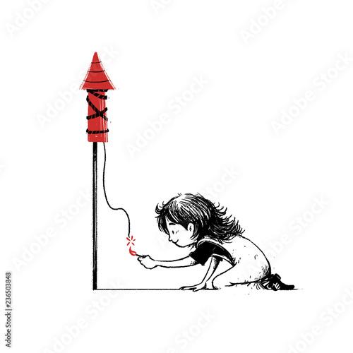 Valokuva  niño encenciendo un cohete