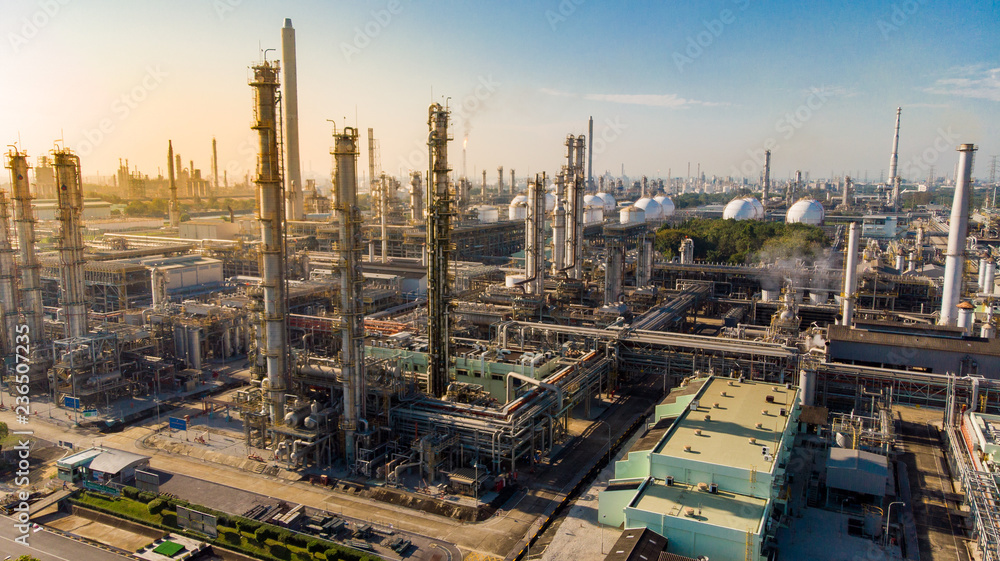 Fototapety, obrazy: Aerial view of Oil and gas industry. warm light tone.