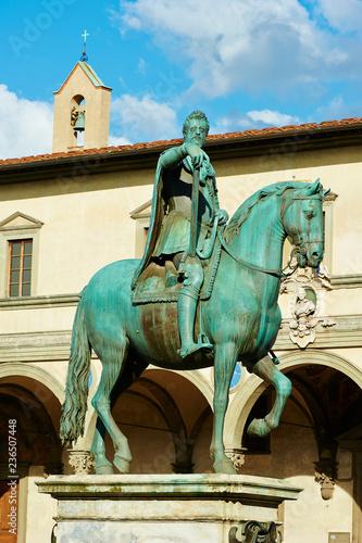Statue of Ferdinando I de Medici, Grand Duke of Tuscany, located in the Piazza d Canvas Print