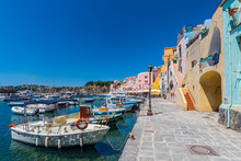 Fishing Boats In The Harbor In Marina Di Corricella, Procida Island, Gulf Of Naples, Italy.