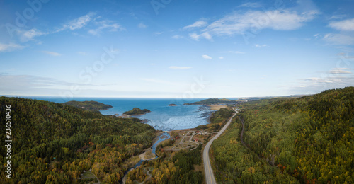 Obraz na plátně Aerial panoramic landscape view of Bic National Park during a vibrant sunny day