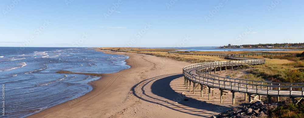 Fototapety, obrazy: Panoramic view of a beautiful sandy beach on the Atlantic Ocean Coast. Taken in La Dune de Bouctouche, New Brunswick, Canada.