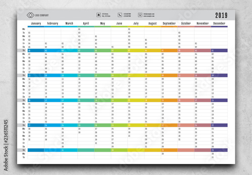 graphic about Yearly Planner Template identified as 2019 12 months Planner Design. Purchase this inventory template and