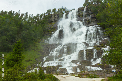 Poster Olive Tvindefossen, one of famous waterfalls in Norway