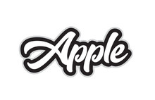 Black And White Apple Hand Written Word Text For Typography Logo Design