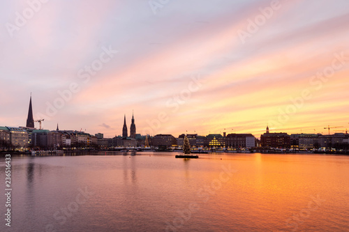 Foto op Plexiglas Antwerpen Sunset in Hamburg. Panoramic view of the decorated city center from Alster Lake, view to Hamburg Rathaus and a christmas tree installed in the center of the lake. Atmosphere before the New Year.