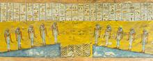 Ancient Egyptian Mural Of  Ten Girls