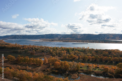 View on the Volga river and Zhiguli hills. The Autumn.