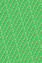 Candy Canes Pattern On Green B...