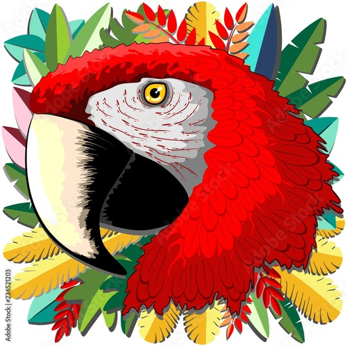 Spoed Foto op Canvas Draw Macaw Parrot Paper Craft Digital Art