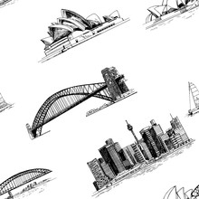 Seamless Pattern Of Hand Drawn Sketch Style Australia Themed Objects Isolated On White Background. Vector Illustration.
