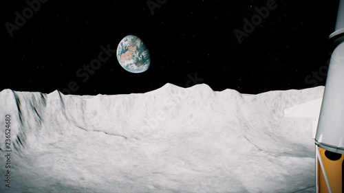 Fotografía Astronaut on the moon in the crater near the lander salutes
