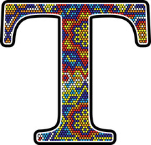 Initial T With Colorful Dots Abstract Design With Mexican Huichol Art Style
