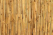 Fence Of Straw. Loft Design. Bamboo Wood Background