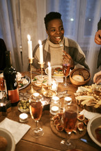 Woman At Luxurious Christmas Table