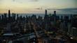 Aerial sunrise silhouette of Chicago Illinois cityscape