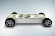 Car covered with us dollars - 3d rendering