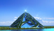 canvas print picture - 3D Futuristic green architecture