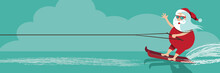 Cartoon Santa Claus Water Skiing. Eps10 Vector Illustration.